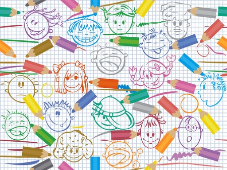 schoolgirl: Seamless pattern of color pencils on paper with kid