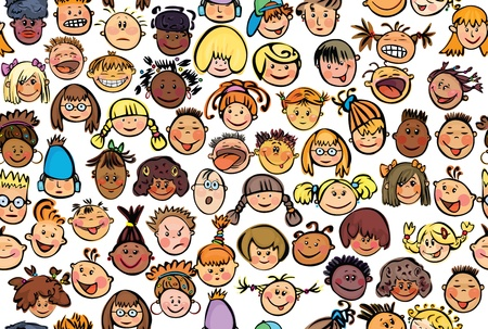 Seamless pattern of kids, different races. Vector