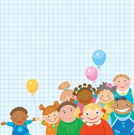 black baby boy: Happy kids for school design.