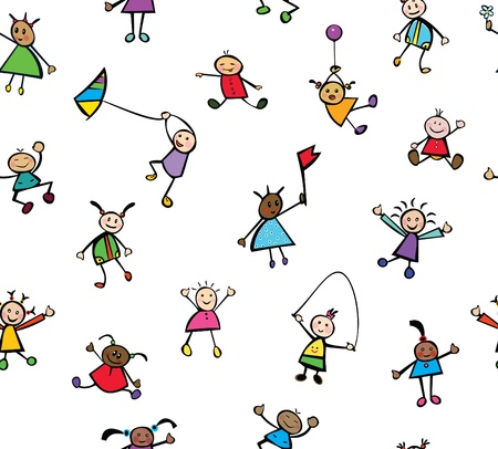 Seamless pattern of fun kids