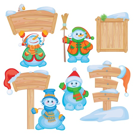 snow cap: Fun snowmen for design.  Illustration