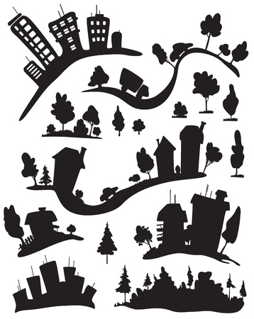 scapes: Silhouettes of houses.