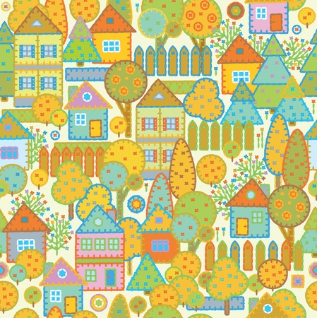 roof tile: Seamless pattern of town.