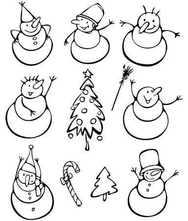 Fun snowmen and elements for design   Stock Vector - 15773848