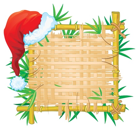 Bamboo frame with hat. Vector