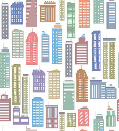 Seamless pattern of colorful city