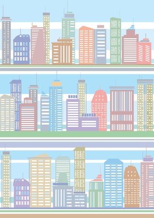 scape: Seamless pattern of colorful city