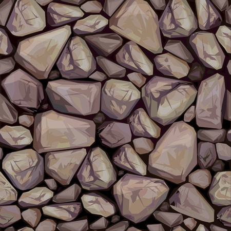 rubble: seamless texture of stones in brown colors.  Illustration