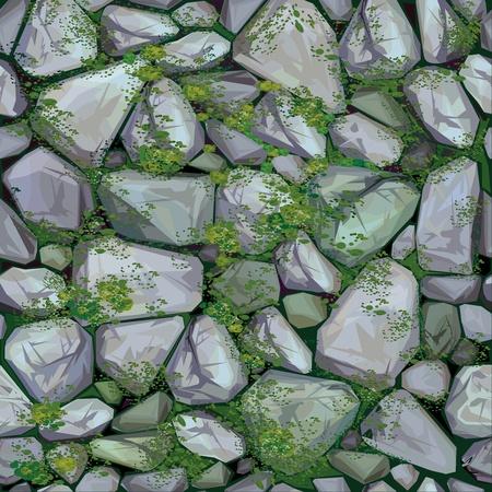 Textura vector sin fisuras de las piedras en colores gris cubierto de musgo.