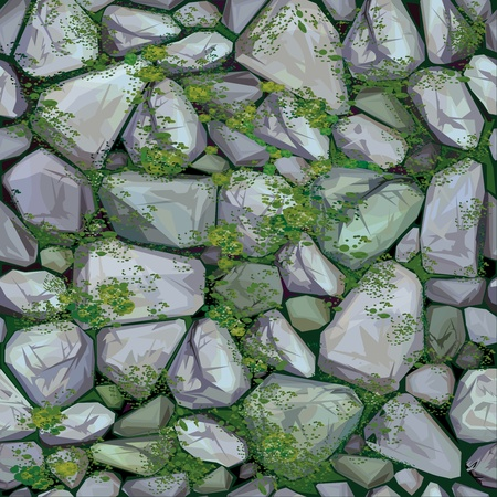 Vector seamless texture of stones in grey colors covered moss.