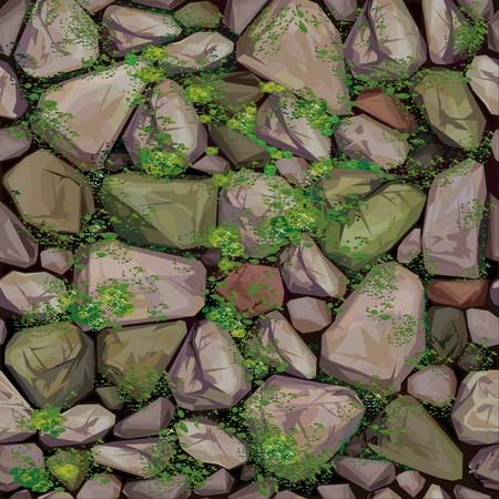 rubble: Textura perfecta de vector de piedras cubiertos de musgo.