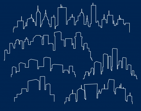 city scape: Set of cities silhouette Illustration