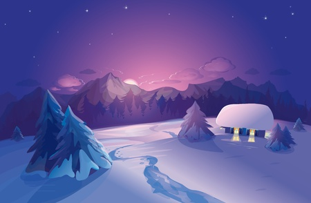winter wonderland: winter landscape Illustration