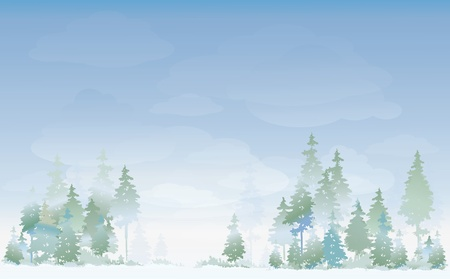 misty forest: Paisaje de invierno Vectores