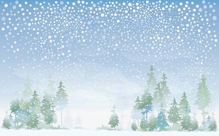 snowy background: Paisaje de invierno Vectores