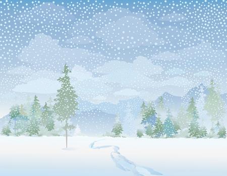 monta�as nevadas: Paisaje de invierno Vectores