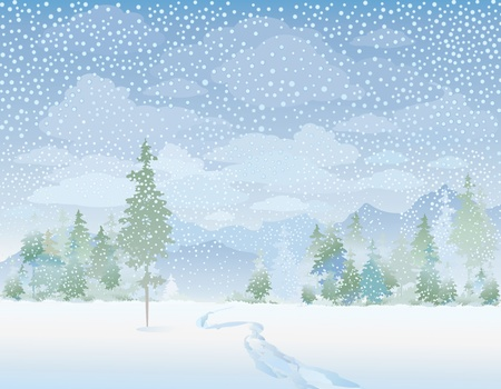 snowy landscape: Winter landscape Illustration