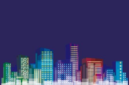 Colorful panorama of city. Çizim