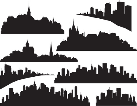 town homes: Set of cities silhouette  Illustration