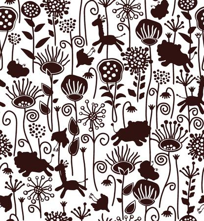 leon caricatura: Patr�n lindo transparente de flora y fauna