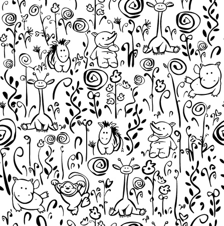 whimsical pattern: Seamless cute pattern of flora and fauna Illustration