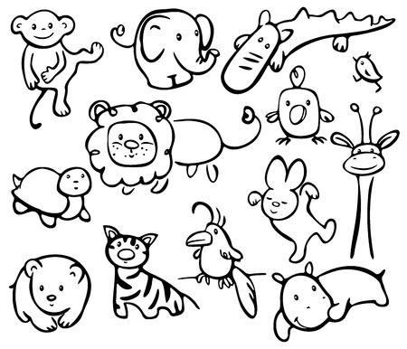 jirafa cute: Siluetas de los animales.