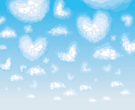 Sky background with clouds heart s shape