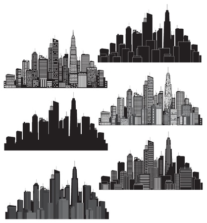 Set of illustration cities silhouette Vector