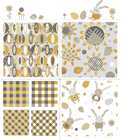 Seamless cute patterns and elements for Easter design. Vector