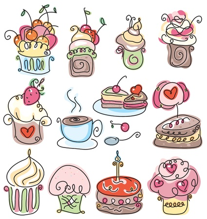 Cute icons of cupcakes for sweet design.  Illustration