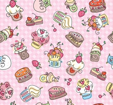 chocolate cupcakes: Seamless pattern of cupcakes for sweet design.  Illustration