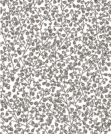 Seamless pattern of flora and birds. Vector