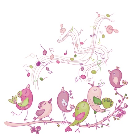 SINGING: Cute singing birds for Easter s and spring s design