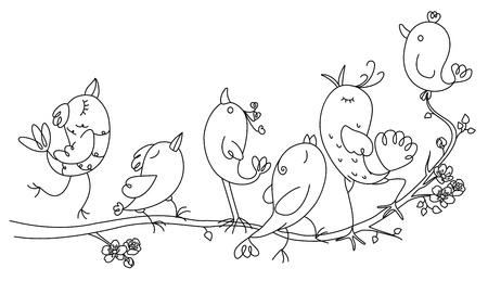 cantando: Canto de los pájaros en el árbol Vectores