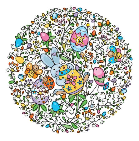Shape of circle covered of fun pattern for Easter design Vector