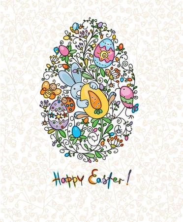 zanahoria caricatura: Tarjeta de Pascua
