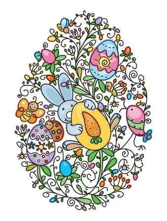 Easter egg shape covered of fun pattern for Easter s, kid s design Vector