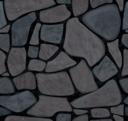 자갈: 블랙 색상의 벽으로의 원활한 질감 일러스트