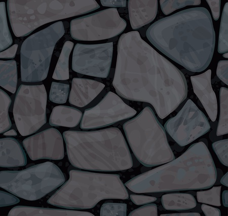 seamless texture of stonewall in black colors  Illustration