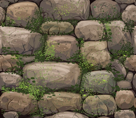 stone wall: Vector seamless texture of stones covered moss