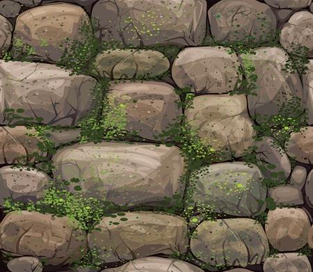 rubble: Vector textura sin fisuras de las piedras cubiertas de musgo
