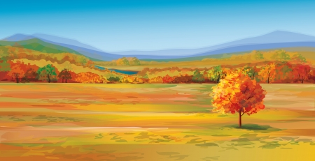 panoramic sky: Vector of autumn landscape