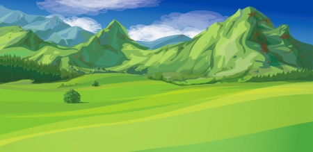 mountain view: mountain landscape Illustration