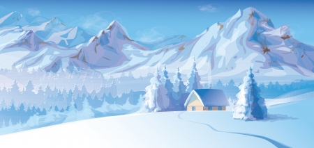 mountain view: winter landscape