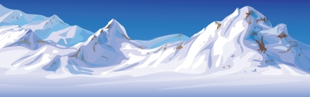 winter landscape, mountains covered snow  Vector