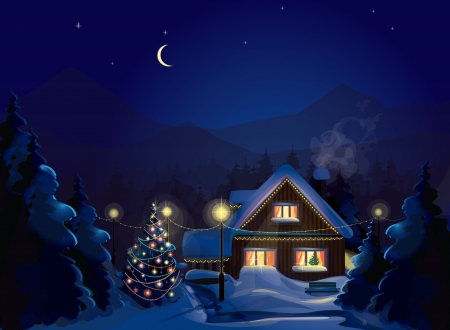 winter landscape with decorated house and Christmas tree  Merry Christmas