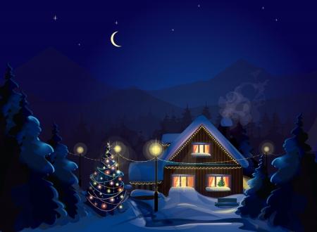 Paisaje de invierno con la casa y decoración del árbol de Navidad Feliz Navidad