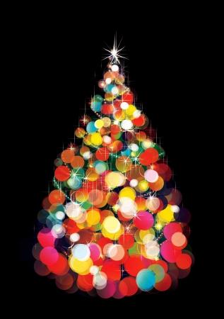 red and yellow card: Las luces de Navidad de los �rboles sobre fondo negro