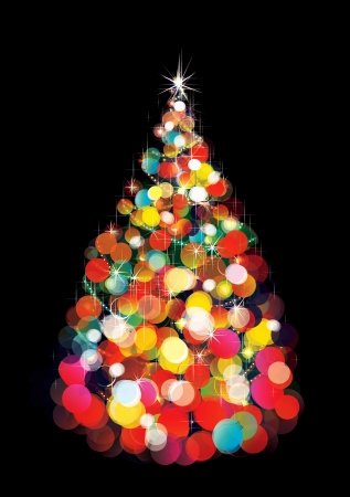 tannenbaum: Weihnachtsbaum leuchtet auf schwarzem Hintergrund
