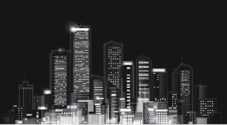 Vector of night city skyline  Ilustrace